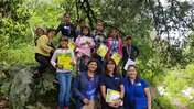Students, Volunteer Christine Cieslak, Noemi Cedeño González and staff NIcole Salgado