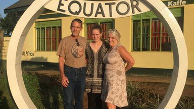 Sophie Fitzsimmons-Peters and parents in Uganda