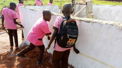Students gave a hand to build the well