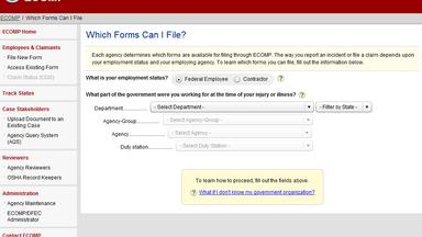 FECA: ECOMP Website: Filing a Claim