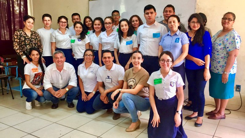 Group photo of Peace Corps Volunteer and English teachers in Nicaragua.