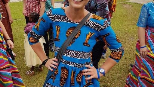 Trainee in traditional Liberian Attire