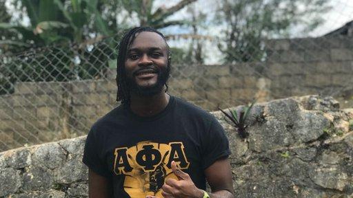 Volunteer Ampofo at post in Jamacia