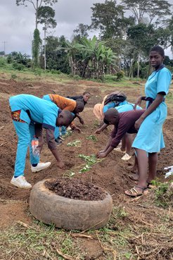 Students working on the garden