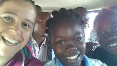 The students on the way to Yaounde to present their app.