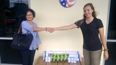Sewing Project Supplies handing over