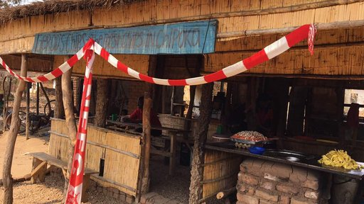 """A small half indorr, half out door room where Malawians make and sell """"chippies"""" or french fries."""