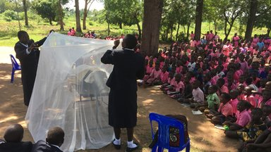 Pupils at school demonstrating how to effectively use a mosquito net