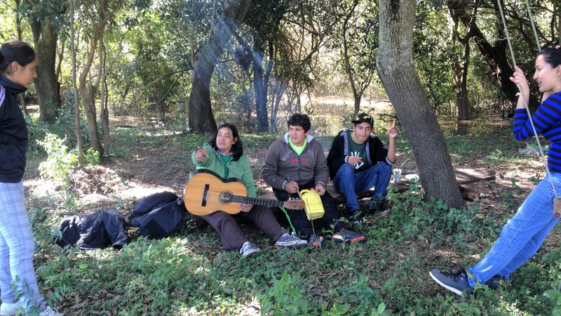 A group of three people sit under a tree with a guitar