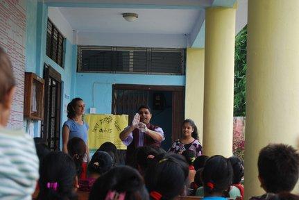 Doing a handwashing demonstration with Jhabindra