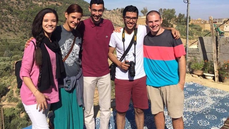Peace Corps Volunteer Laila (2nd from left) with Reda and other students.