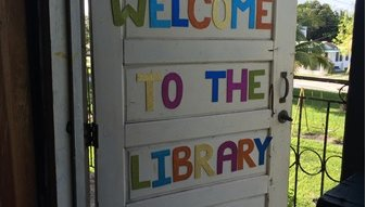 Adria's Library - welcome sign
