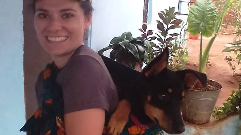 Jenn with Lira on her back