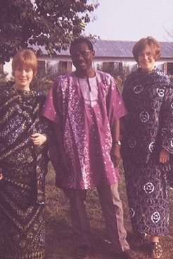 Jane Moore (right) with members of her community in Togo.