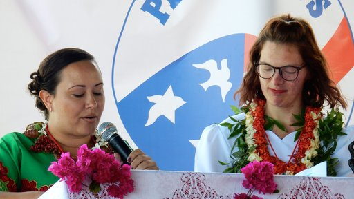 G80 representatives give a speech in Tongan at Swearing In