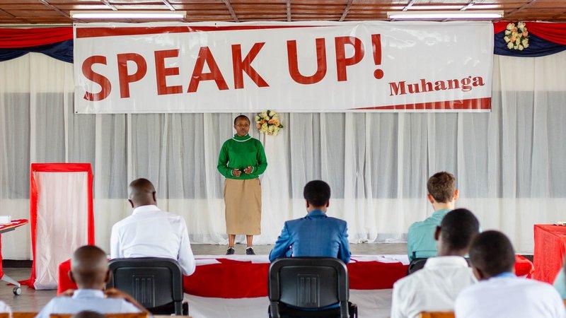 Solange delivering her award winning speech.