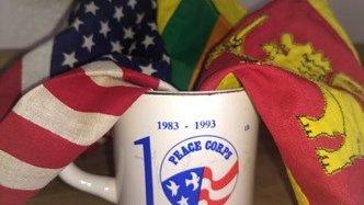 Sri Lankan national flag and U S national flag and 10th anniversary mugs