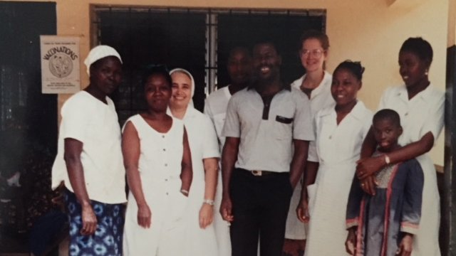 Patty Short with clinic staff, Liberia
