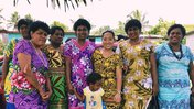 Asian American Volunteer with the women from her Nadroga Navosa village