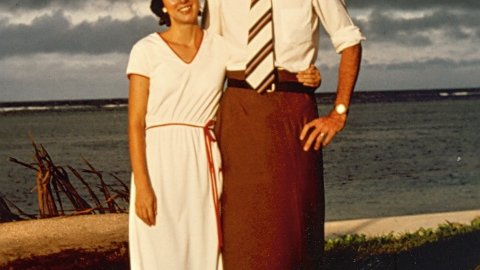 Peace Corps Director Carrie Hessler-Radelet with her husband, Steve Radelet, during their Volunteer service in Samoa.