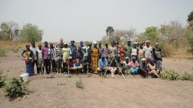 Group shot after a day of making contour berms in Fodé Bayo. Photo by PCV Amanda Landry