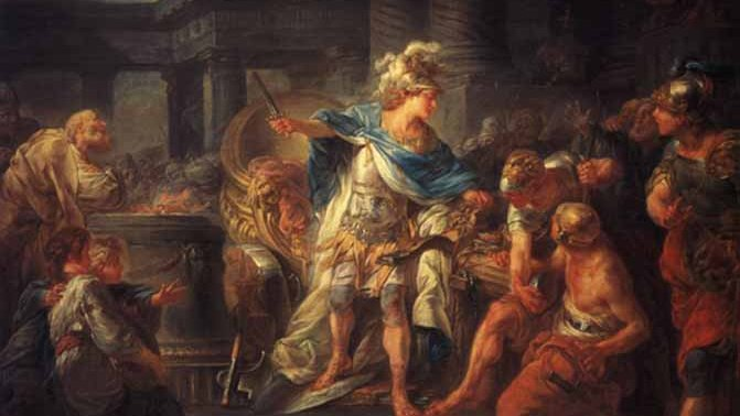 Alexander cuts the Gordian knot (Wikimedia Commons)