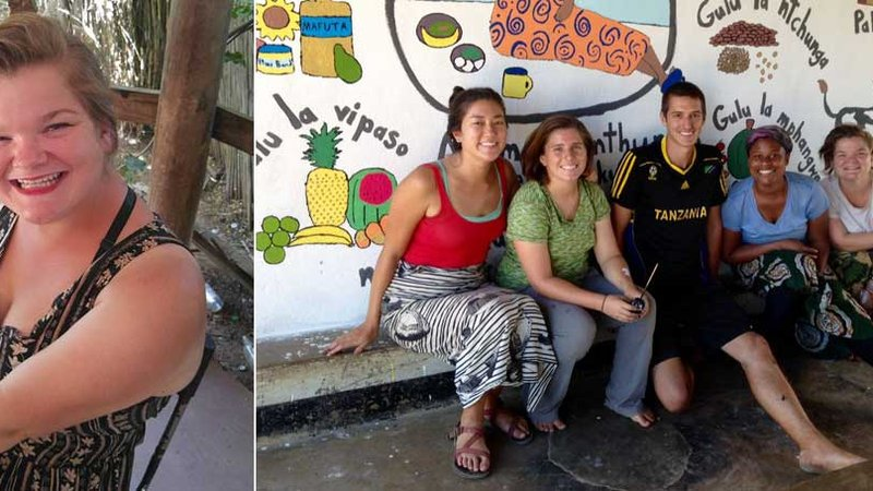 Two Photos: First photo is Cameron sitting in a chair and smiling. Second photo is Cameron sitting with other PCVs in front o
