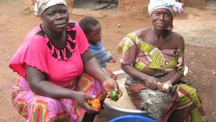 The school feeding program cooks using the fresh produce from the garden.