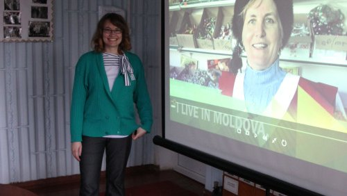 Volunteer Jenny Sayles shared her film about happiness in Moldova.
