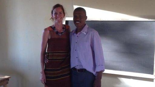 Josoah poses with Madagascar Country Director Vanessa Dickey