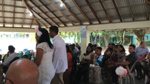 My host family's sister's wedding at Camalote, Belize, a small village outside the capital city of Belmopan. The bride is bei