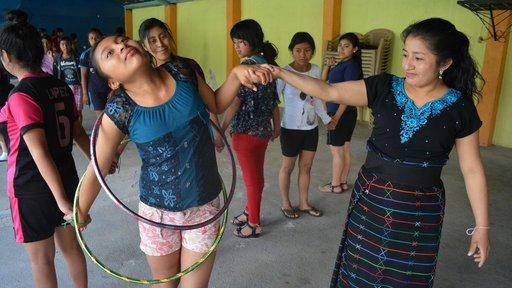 Camp participants in Campamento Lucero Aguacatan take part in leadership building games.