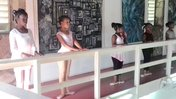 Our ballet class in the Art Gallery at the Old Mill since Hurricane Maria destroyed the Dance Studio.