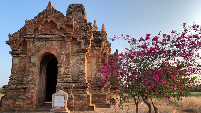 This picture shows a beautiful, old, stone temple, located in Myanmar.