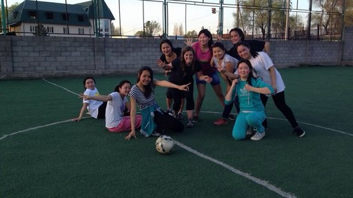A girls' soccer team in the Kyrgyz Republic