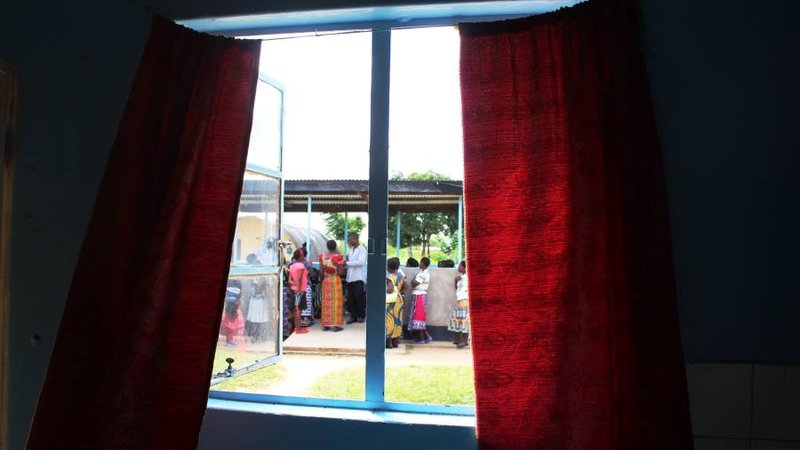 view out of a clinic window at women who will utilize the new ward