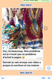 A WhatsApp conversation between a classroom in Los Angeles and a Volunteer in Cameroon
