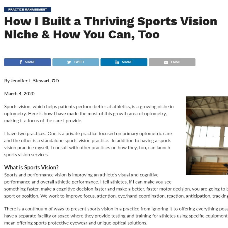 Building a Sports Vision Niche