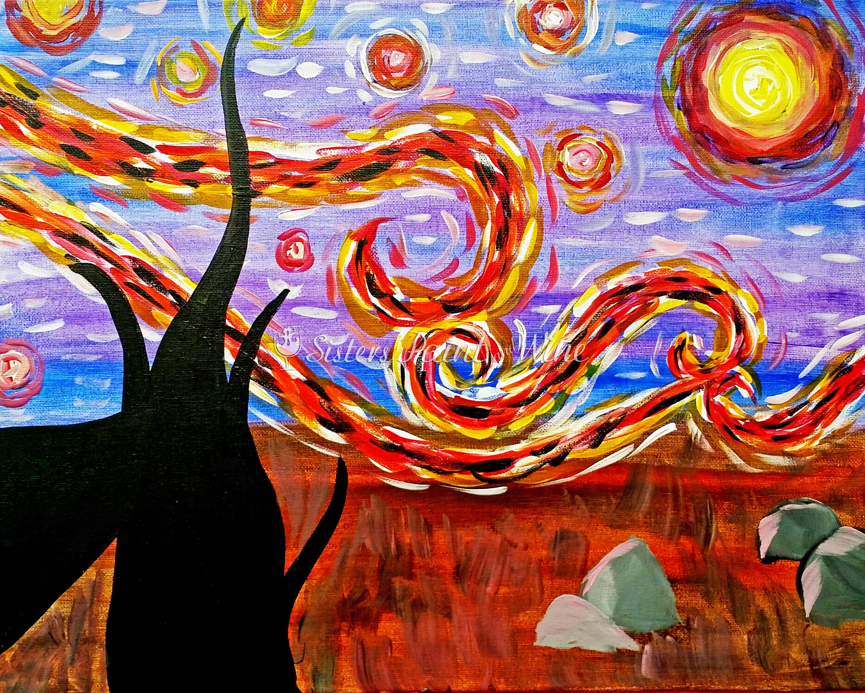 Sandia starry night farina alto for Paint and wine albuquerque