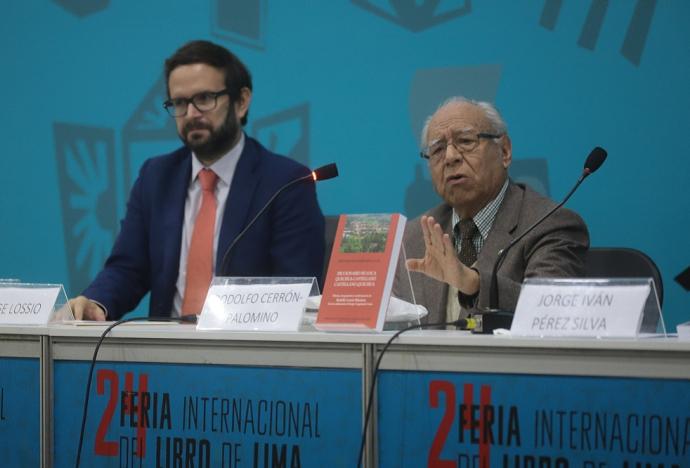 El profesor Cerrón-Palomino presentó el diccionario quechua huanca – castellano en la 24 FIL