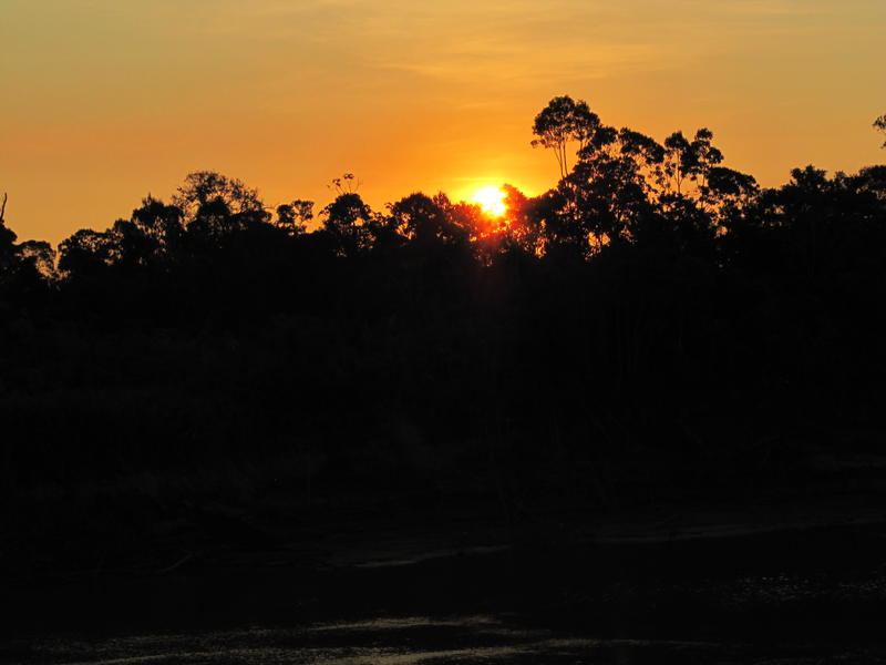 Sunset on the river Ucayali