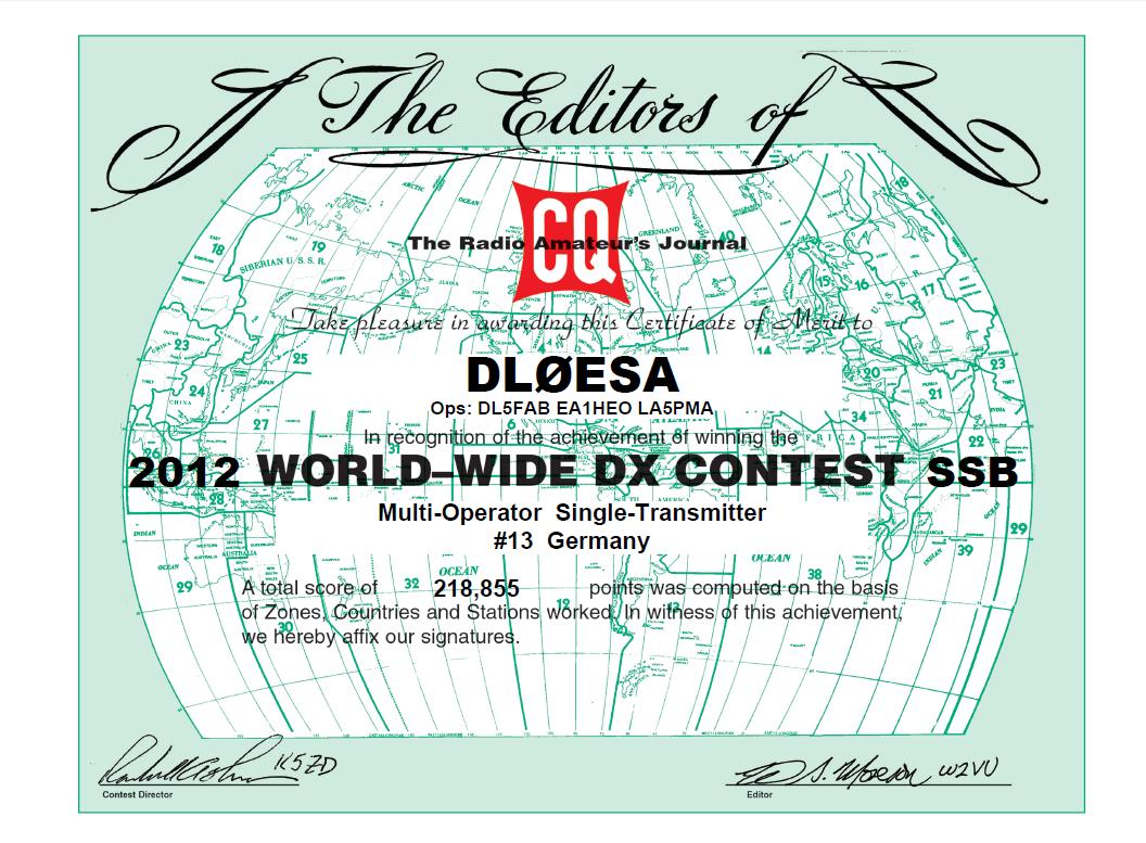 2012 WW DX Contest SSB certificate