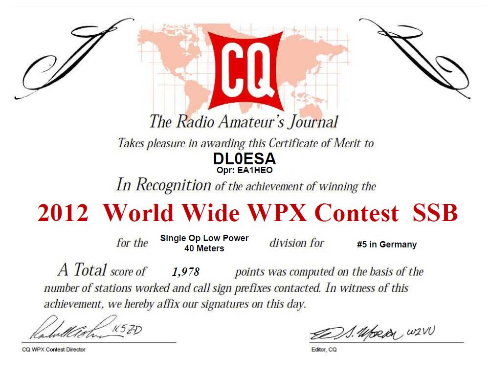 2012 WW WPX Contest SSB certificate