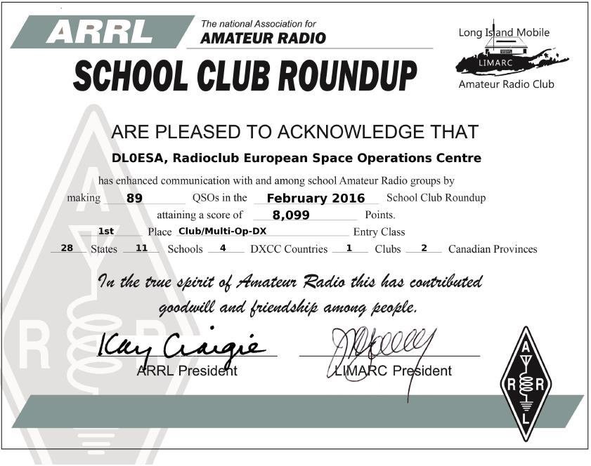 ARRL SCR certificate