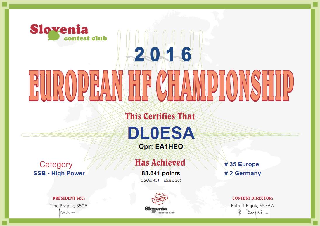 2016 EU HF certificate DL0ESA