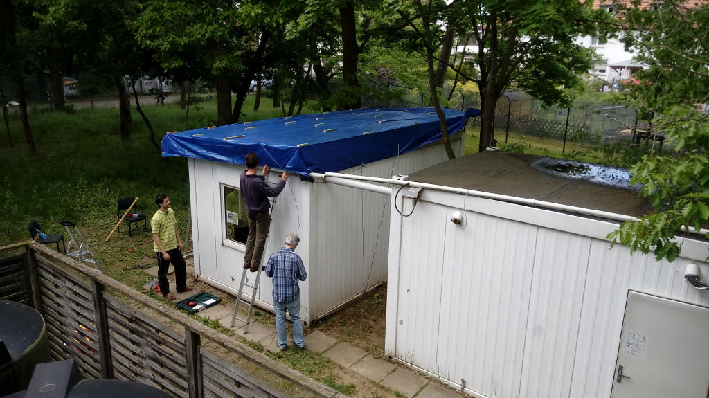 20170513 plastic cover added on the overall structure as rain expected in the incoming days