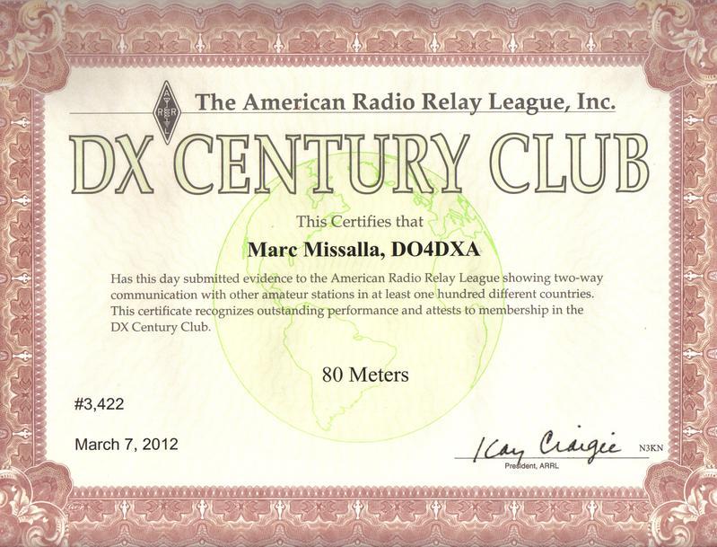 DO4DXA 80M DXCC