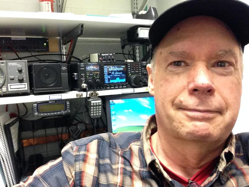 In the Red Cross radio room for my first HF QSO