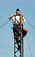 KL2A climbing a tower at W7RN