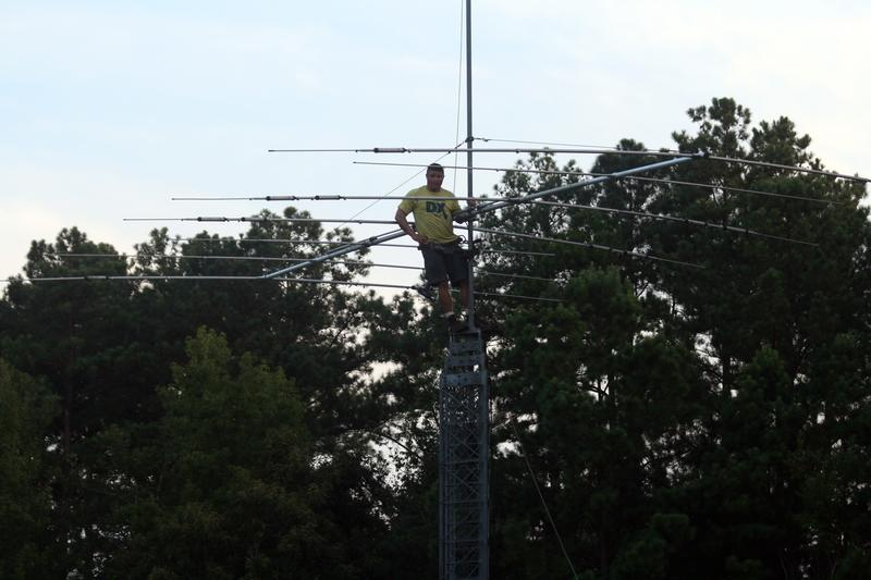 On top of my 72' crank-up tower with a Hy-Gain TH-7 Yagi.